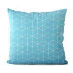 dekorativní geometrický povlak na polštář Cube turquoise 50x50cm 7