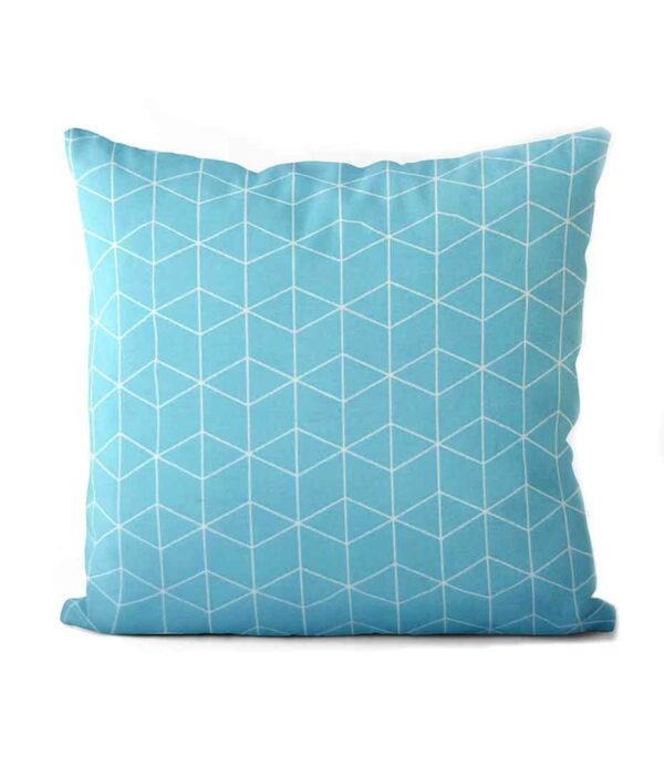 dekorativní geometrický povlak na polštář Cube turquoise 50x50cm 5