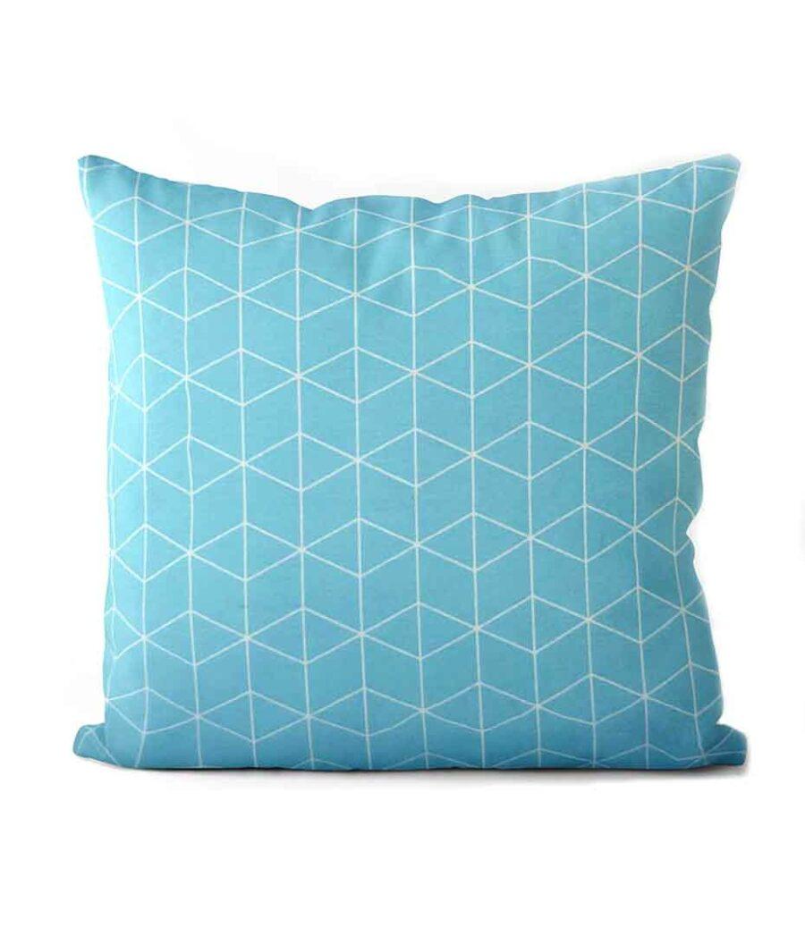 dekorativní geometrický povlak na polštář Cube turquoise 50x50cm 1