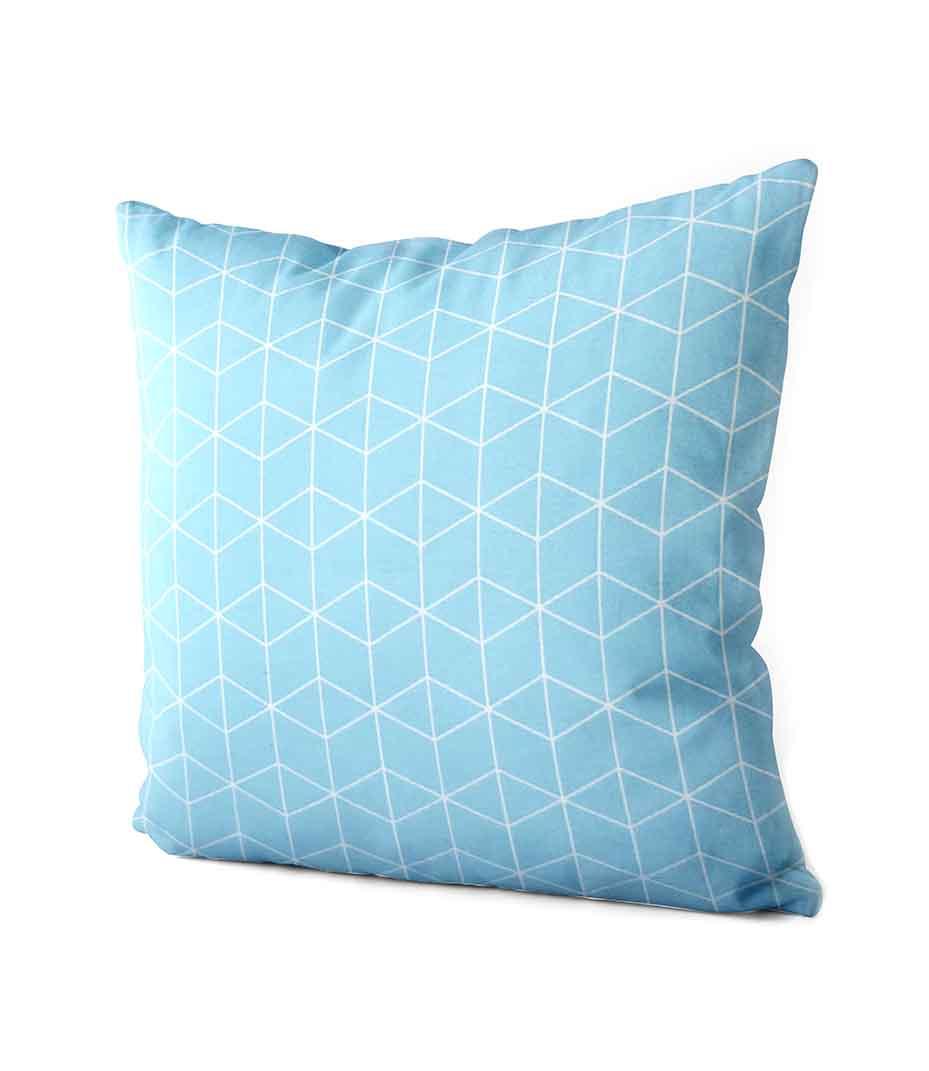 dekorativní geometrický povlak na polštář Cube turquoise 40x40 cm 2