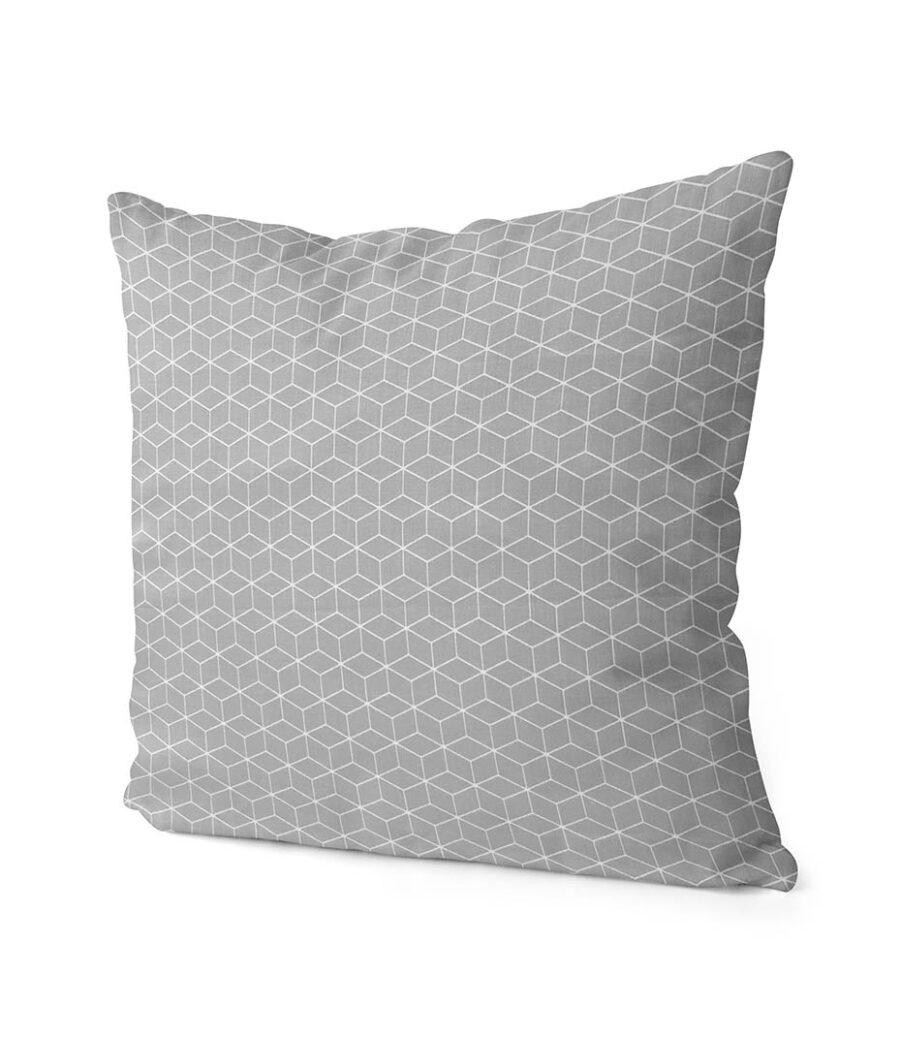 dekorativní geometrický povlak na polštář šedivý Fine squares 40x40 cm 2