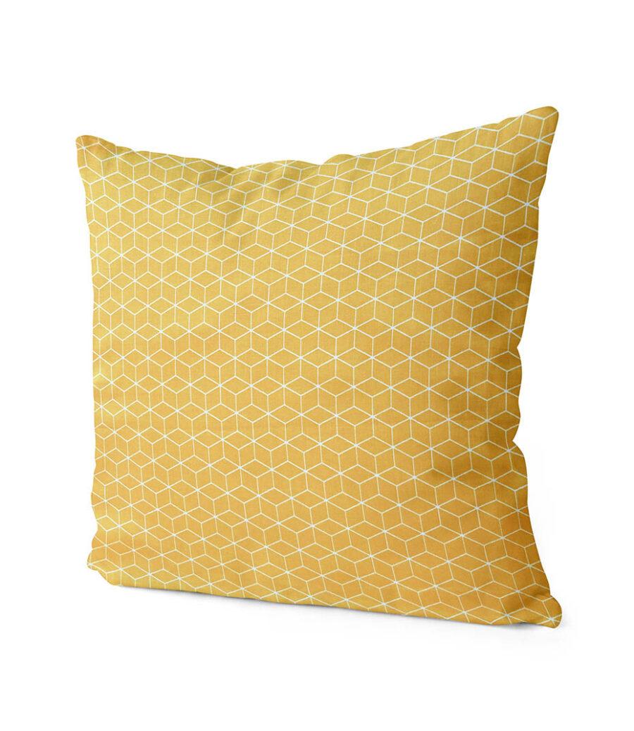 dekorativní geometrický povlak na polštář žlutý Fine squares 40x40 cm 2