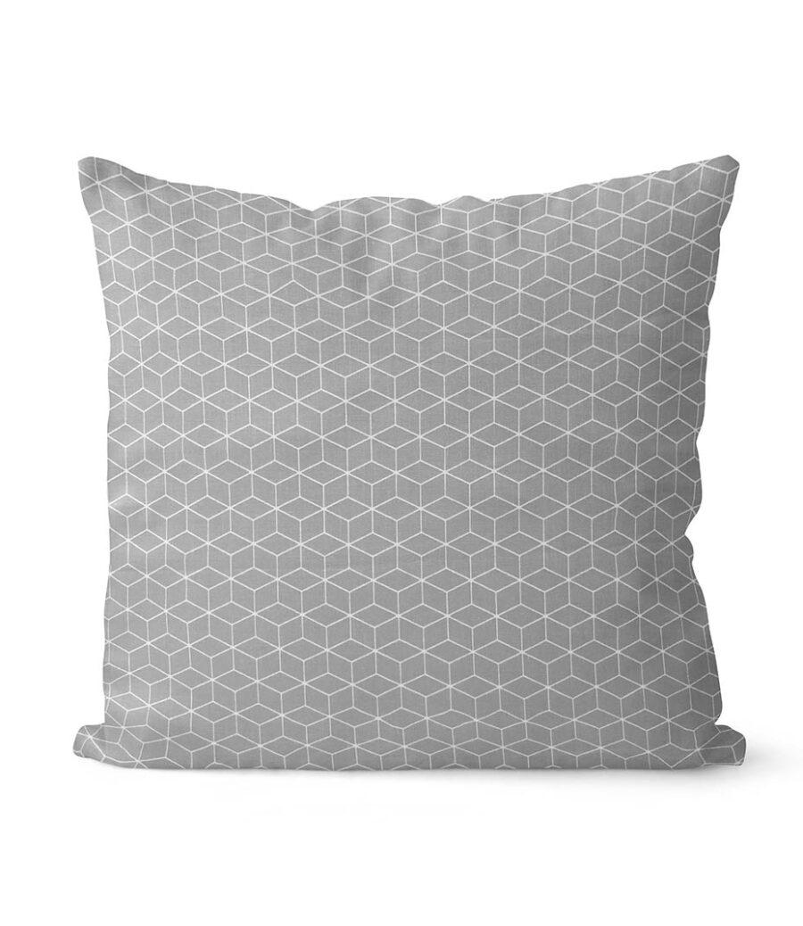 dekorativní geometrický povlak na polštář šedivý Fine squares 40x40 cm 1