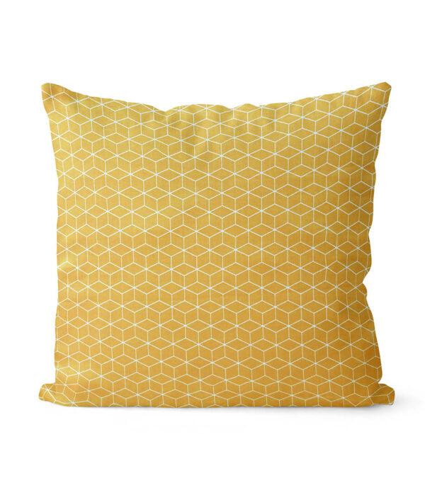 dekorativní geometrický povlak na polštář žlutý Fine squares 40x40 cm 8