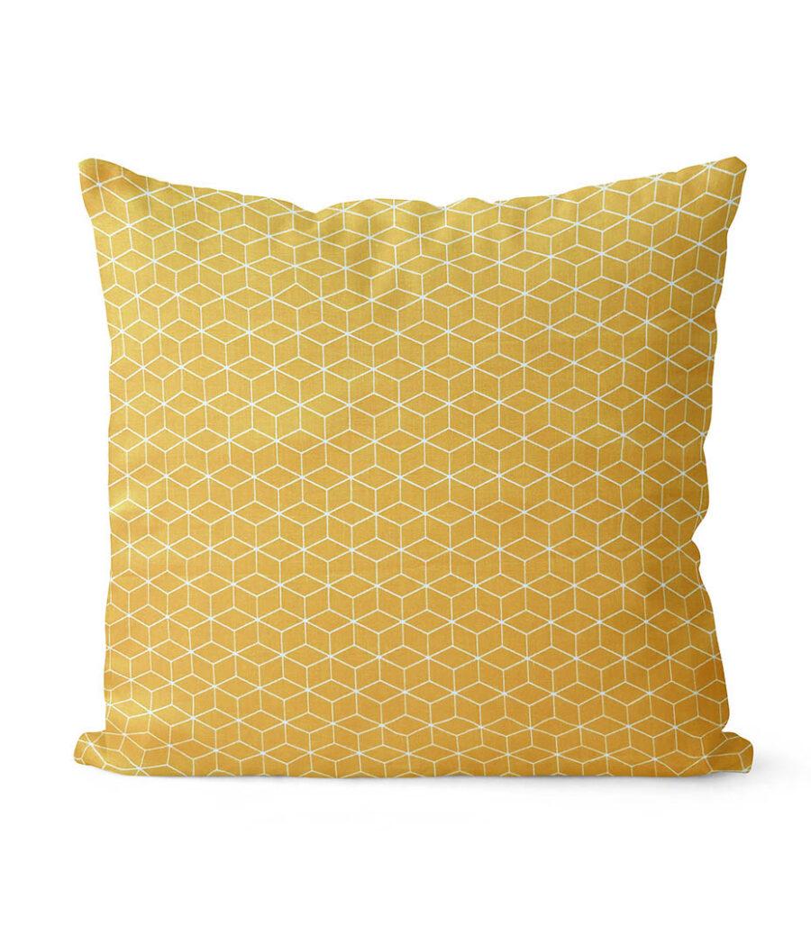 dekorativní geometrický povlak na polštář žlutý Fine squares 40x40 cm 1