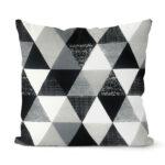 dekorativní geometrický povlak na polštář šedivý Triangular 40x40 cm 7