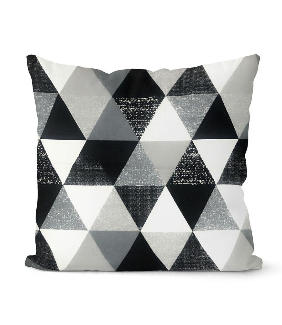 dekorativní geometrický povlak na polštář šedivý Triangular 40x40 cm 1